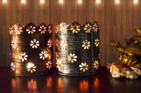 Height Of Designs Square Star Candle Votive Iron 1 - Cup Tealight Holder Set (Multicolor, Pack Of 2)