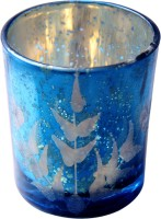 Sutra Decor Glass 1 - Cup Tealight Holder (Blue, Pack Of 1)