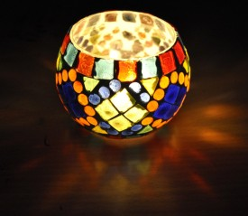Lal Haveli Decorative Mosaic Work Glass Tealight Holder