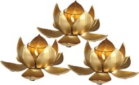 InspirationWorld Lotus Set/3 Iron 3 - Cup Tealight Holder Set (Gold, Pack Of 3)