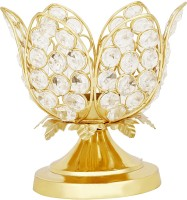 Being Nawab Lotus In Crystallized Gold Crystal 1 - Cup Tealight Holder (Gold, Silver, Pack Of 1)
