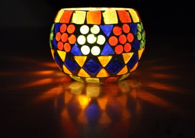 Lal Haveli Decorative Mosaic Glass Tealight Holder (Multicolor, Pack Of 1)