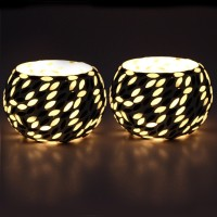 EarthenMetal Handcrafted Black & White Beads Decorated Glass 1 - Cup Tealight Holder Set (White, Black, Pack Of 2)