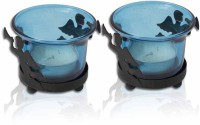 Painting Mantra Designer & Decorative Blue Wax Candles Glass 1 - Cup Tealight Holder Set (Blue, Pack Of 2)