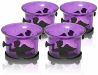 Painting Mantra Designer & Decorative Purple Wax Candles Glass 1 - Cup Tealight Holder Set (Purple, Pack Of 4)