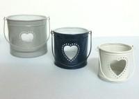 Dazzlingdelineations Dazzling Love Heart Tea Light Votive Holder Set Of 3 Iron Tealight Holder Set (Multicolor, Pack Of 3)