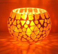 Lal Haveli Home Decor Glass Handicraft Night Lamp Tealight Stand Glass 1 - Cup Candle Holder (Red, Pack Of 1)