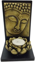 Fabionic Buddha Facing Left Small Single T-Light Wooden 1 - Cup Tealight Holder (Black, Pack Of 1)