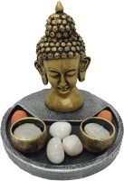 Fabionic Buddha Head Round T-Light Wooden 2 - Cup Tealight Holder (Black, Pack Of 1)