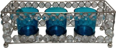 Decor8 Crystal & Tray With Glasses Iron 3 - Cup Candle Holder (Silver, Pack Of 1)