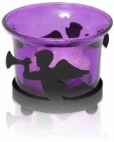 Painting Mantra Designer & Decorative Purple Wax Candles Glass 1 - Cup Tealight Holder (Purple, Pack Of 1)