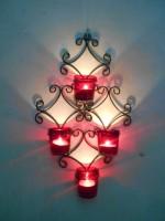 Handicraftscart Red Votive Square Sconce Cast Iron 4 - Cup Tealight Holder (Black, Pack Of 1)