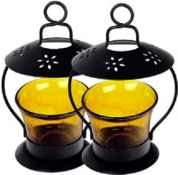 My Art Combo Yellow Iron Tealight Holder Set (Yellow, Pack Of 2)
