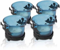 Painting Mantra Designer & Decorative Blue Wax Candles Glass 1 - Cup Tealight Holder Set (Blue, Pack Of 4)