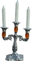 ECraftIndia Decorative Orange Crystal Aluminium 3 - Cup Candle Holder (Silver, Orange, Pack Of 1)