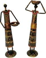 Sancheti Art 13 Inches Tall Masai Figurine Cast Iron Tealight Holder Set (Black, Gold, Multicolor, Pack Of 2)