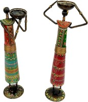 Sancheti Art Pair Of 13 Inches Tall Masai Cast Iron 2 - Cup Tealight Holder Set (Green, Red, Orange, Blue, Pack Of 2)