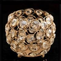 AsAura Iron, Crystal Tealight Holder (Gold, Pack Of 1)