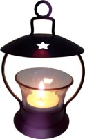 Decor8 T Light Votive Round Base With Star Design On Top Iron 1 - Cup Candle Holder (Black, Pack Of 1)