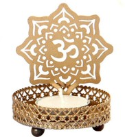 Sutra Decor Glass Tealight Holder Iron 1 - Cup Tealight Holder (Gold, Pack Of 1)