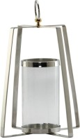 @home Pyramid Glass Candle Holder (Silver, Pack Of 1)