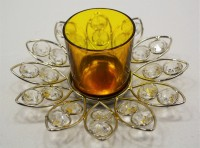 Reverence Glass, Iron, Crystal Tealight Holder (Yellow, Pack Of 1)
