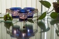 Homesake Crystal Tri Votive Stand (with 3 Votive) Blue Iron Tealight Holder Set (Blue, Pack Of 1)