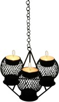 Aesthetic Decors Iron 3 - Cup Candle Holder (Black, Pack Of 1)