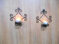 Handicraftscart Two Square Sconce Cast Iron 2 - Cup Tealight Holder (Black, Pack Of 2)