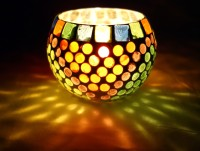 Lal Haveli Decorative Night Lamp Mosaic Glass Candle Holder (Multicolor, Pack Of 1)