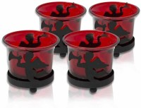 Painting Mantra Designer & Decorative Red Wax Candles Glass 1 - Cup Tealight Holder Set (Red, Pack Of 4)