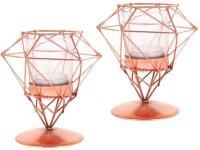 Inspiration World Diamond Candle Light Set 2 Iron Tealight Holder Set (Copper, Pack Of 2)