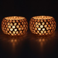 EarthenMetal Handcrafted Golden Beads Decorated Glass 1 - Cup Tealight Holder Set (White, Gold, Pack Of 2)