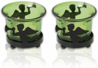 Painting Mantra Designer & Decorative Green Wax Candles Glass 1 - Cup Tealight Holder Set (Green, Pack Of 2)