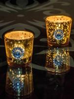 Homesake Glass Tealight Holder Set (Gold, Pack Of 2)