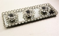 Reverence Glass, Crystal, Iron 3 - Cup Tealight Holder (Silver, Pack Of 1)
