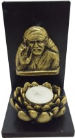 Fabionic Sai Baba Small Single T-Light Wooden 1 - Cup Tealight Holder (Black, Pack Of 1)