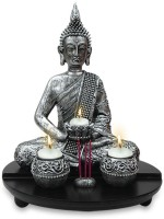 Archies Polyresin 3 - Cup Candle Holder (Grey, Pack Of 4)