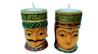 PEACOCK ART Men Women Tealight Holder Wooden Tealight Holder Set (Multicolor, Pack Of 2)