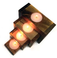 Engrave Wooden 4 - Cup Candle Holder Set (Brown, Pack Of 4)