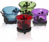 Painting Mantra Set Of 4 Designer & Decorative Wax Candles Glass 1 - Cup Tealight Holder Set (Multicolor, Pack Of 4)