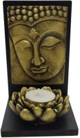 Fabionic Buddha Facing Right Small Single T-Light Wooden 1 - Cup Tealight Holder (Black, Pack Of 1)