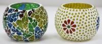 SR Crafts SRCTL4835 Glass 2 - Cup Tealight Holder Set (Multicolor, Pack Of 2)