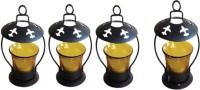Craftatoz Iron, Glass Candle Holder (Yellow, Pack Of 4)