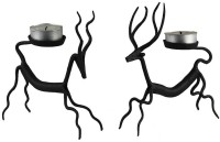 Giftgulley Iron Tealight Holder Set (Black, Pack Of 2)