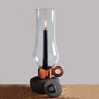 Seletti Porcelain, Glass Candle Holder (Grey, Brown, Pack Of 1)