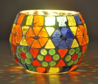 Lal Haveli Home Decor Glass Night Lamp Decoration Light Glass 1 - Cup Candle Holder (Multicolor, Pack Of 1)