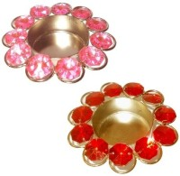 Beyond D Imagine Crystal Iron Tealight Holder Set (Red, Pink, Pack Of 2)