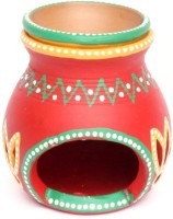 Home Sparkle Terracotta Candle Holder (Multicolor, Pack Of 1)