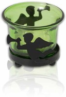 Painting Mantra Designer & Decorative Green Wax Candles Glass 1 - Cup Tealight Holder (Green, Pack Of 1)